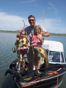 My girls would help spot the carp...then we would slip in for a shot. Bowfishing the lake from a boat.